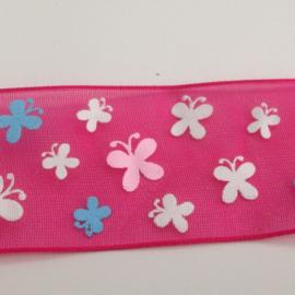 10.12 Roze organza met gekleurde vlinders