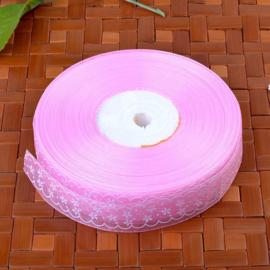 10.01 Roze organza met opdruk