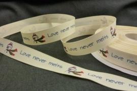 10.13 Licht geel lint met een sneeuwpop en de tekst: Love never melts