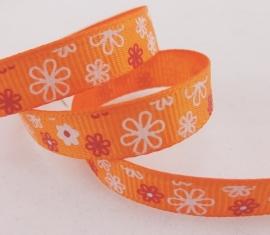 10.06 Oranje lint met witte en rode bloemen