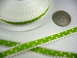 10.03 Wit lint met kartel randje en groene opdruk