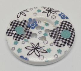 09. Grote witte knopen met zwarte en blauwe bloemen
