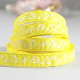 10.08 Geel lint met witte hartjes