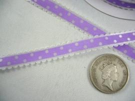 10.03 Wit lint met kartel randje en paarse opdruk