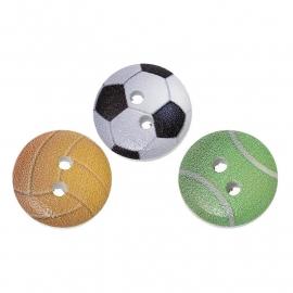 Knoopjes met opdruk van verschillende ballen