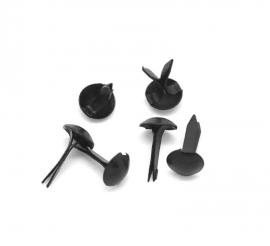 25 mini brads 9x5 mm zwart