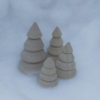 Houten kerstomen  4 stuks