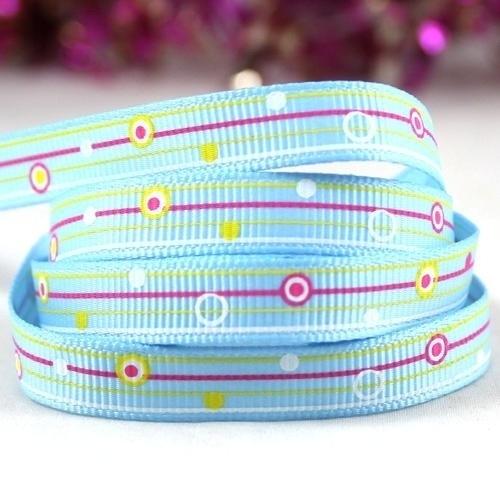 10.00 Blauw lint met gele strepen en gekleurde stippen