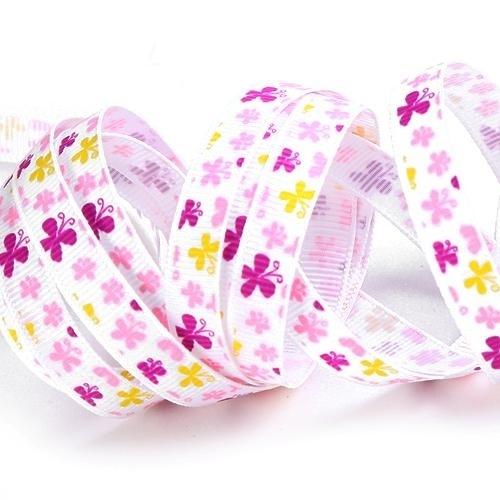 10.12 Wit lint met roze en paarse vlinders.