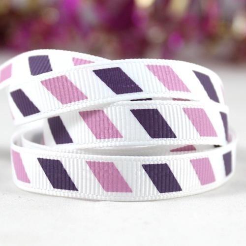 10.00 Wit lint met paarse strepen.