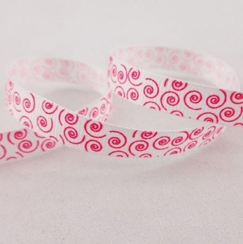 10.00 Wit lint met roze opdruk