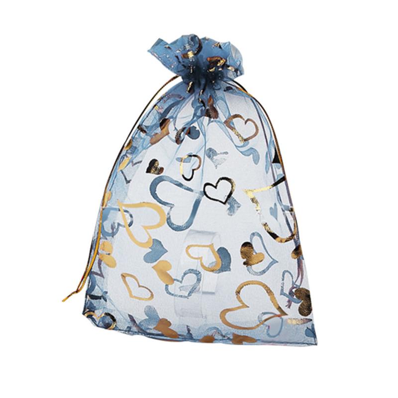 18.03 11x9 blauwe organza zakjes met gouden hartjes