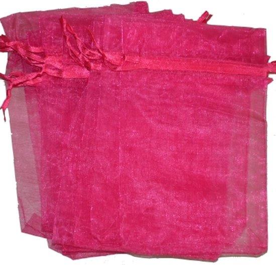 Organza zakjes fuchsia 10x15 cm 10 stuks
