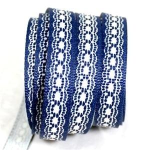 10.04 Blauw lint met wit kanten opdruk