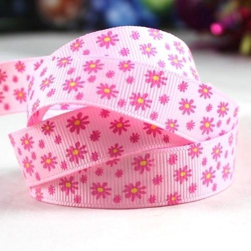 10.06 Roze lint met roze bloemen