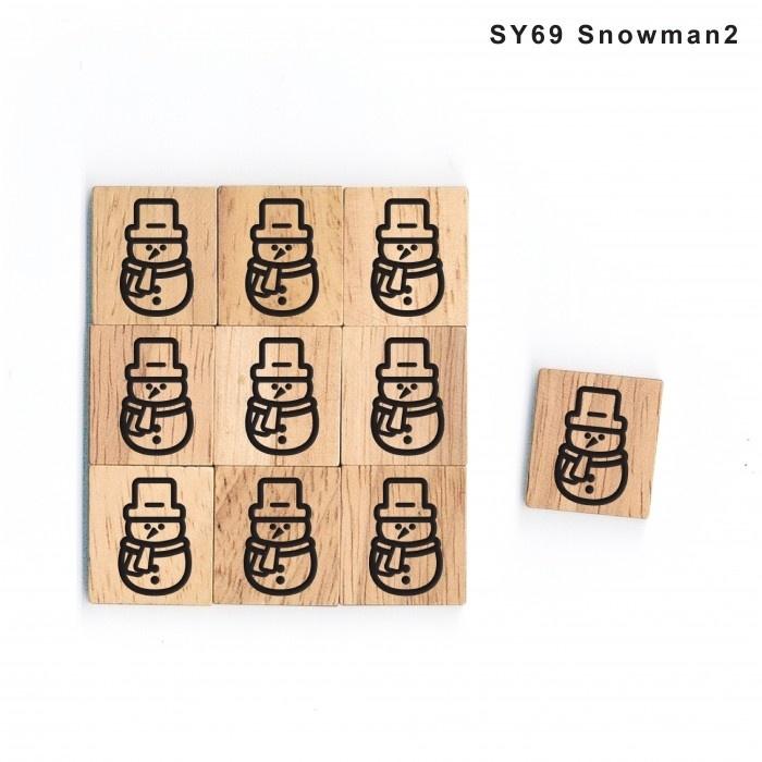11.02 Houten scrabble blokje: sneeuwpop