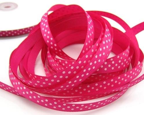 10.14 Donker roze lint met witte stippen