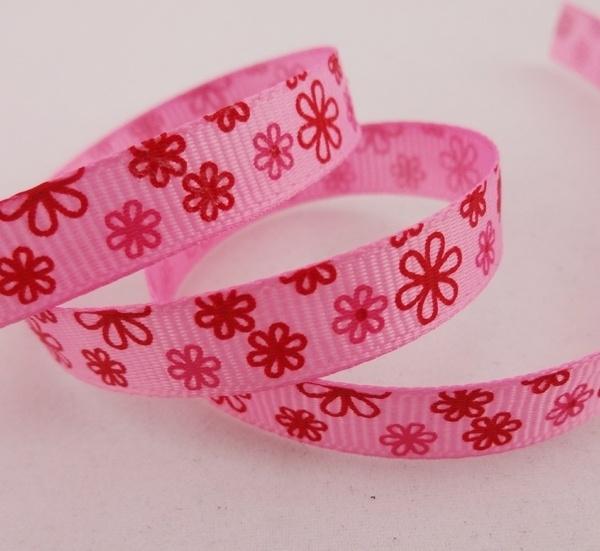 10.06 Roze lint met roze en rode bloemen