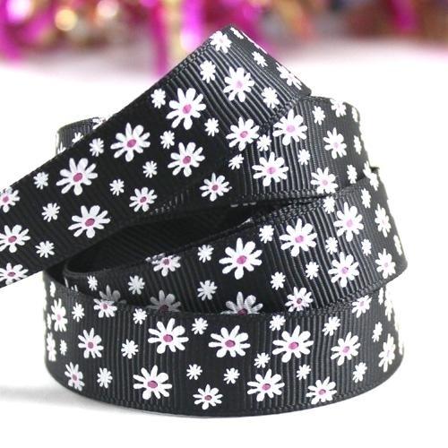 10.06 Zwart lint met witte bloemen