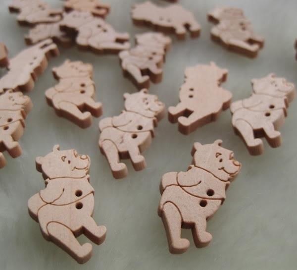 08.04 Houten Winnie de Pooh knoopjes