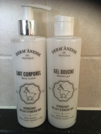 duo van body lotion ezelinnenmelk en gel douche ezelinnenmelk