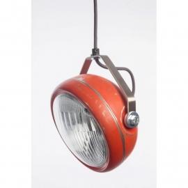 hanglamp vintage koplamp rood  zwart snoer