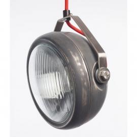 hanglamp vintage koplamp grijs met rood snoer