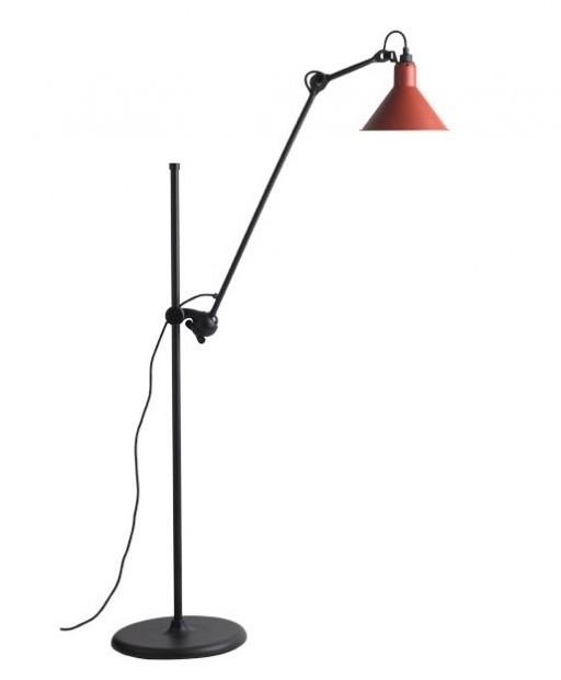Staande lamp la lampe gras no 215 - zwart met rode kap