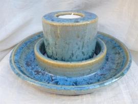 Duo waxine brander met schaal blauw. 4