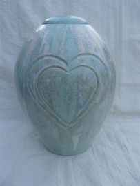 Duo urn pastel blauw/ groen met 2 harten. DU 3
