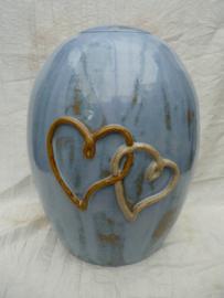 Duo urn blauw / bruin met 2 harten. DU 2