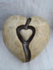 Urn hart  creme met uitneembaar klein hart