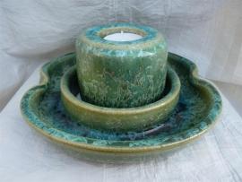 Duo waxine brander met schaal groen. 1