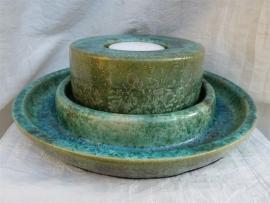 Duo waxine brander met  schaal groen. 7