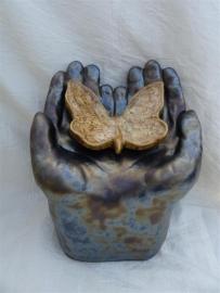 Urn met vlinder antraciet / bruin 4