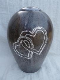Urn bruin met dubbel hart. U 152