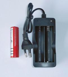 Set Dubbele Oplader samen met 1 st. 18650 Oplaadbare Batterijen 4200 mAh