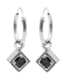 Vierkant Zwart Zirconia Zilver