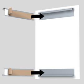 Dibond rail set 30cm (1x bovenrail  + 1x onderrail) max. 4 kg