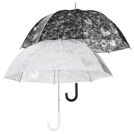Paraplu Doorzichtig met Kant En Hartjes ZWART