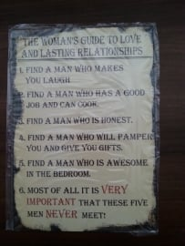 Tekstbord The Woman's Guide To Love
