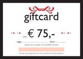 Giftcard kadobon € 75,-