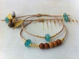 Bracelet Jade Blue & Sandalwood  - `Peace & Calm`