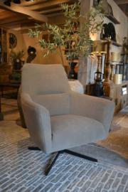 Mooie landelijk stoere industriële fauteuil met draaipoot zwart ~Mick~