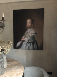 Prachtig schilderij canvas framed -Girl of a dressed in Blue-