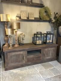 Prachtig tv-meubel van bruin/vergrijsd hout