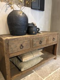 Stoer tvmeubel van oud hout 120 cm