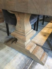 Maatwerk! Prachtige kloostertafel massief vergrijsd teakhout