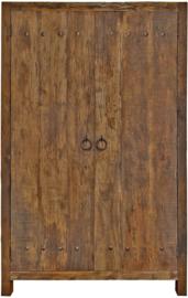 Stoere kast 2-deurs van doorleefd oud hout