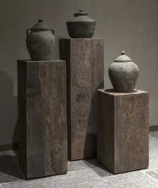 Hele stoere zuil van oud hout 100 cm